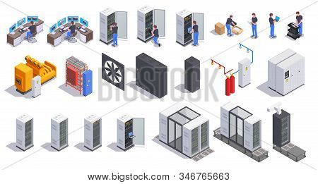 Datacenter Communication Equipment Collection Of Isolated Isometric Icons With Server Racks Cooling