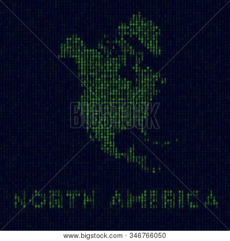 Digital North America Logo. Continent Symbol In Hacker Style. Binary Code Map Of North America With