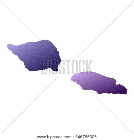 Samoa Map. Geometric Style Country Outline. Precious Violet Vector Illustration.
