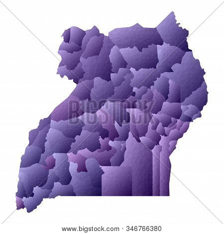 Uganda Map. Geometric Style Country Outline. Noteworthy Violet Vector Illustration.