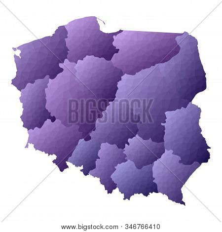 Poland Map. Geometric Style Country Outline. Energetic Violet Vector Illustration.