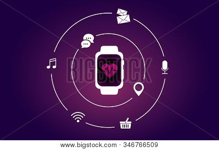 Smartwatch And Fitness Tracker Vector Concept. Color Heart Icon On Isometric Smart Watch Screen And