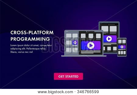 Cross Platform Software Development And Coding Programming Website Template, Landing Page Or Banner