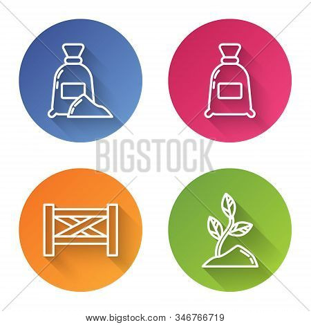 Set Line Bag Of Flour, Bag Of Flour, Garden Fence Wooden And Sprout. Color Circle Button. Vector