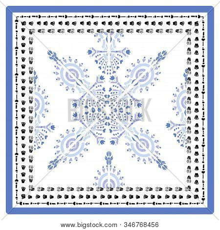 Square Scarf Ethnic Ornate Print Silk.  Shawl Ikat  Embroidery Autentic Fabric Ornament Carpet