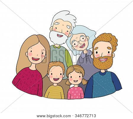 A Happy Family. Parents With Children. Cute Cartoon Dad, Mom, Daughter, Son And Baby. Grandmother An