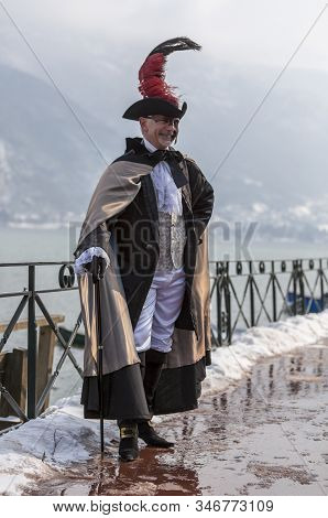 Annecy, France, February 24, 2013:  Portrait Of A Disguised Person Posing In Annecy, France, During
