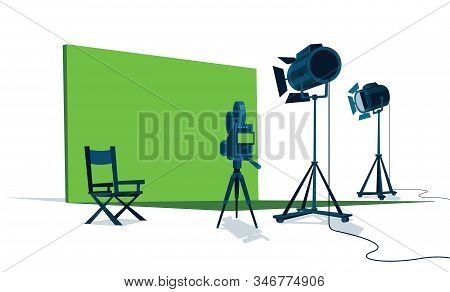 Movie Set With Green Screen, Camera, Lights And The Chair Of The Director.