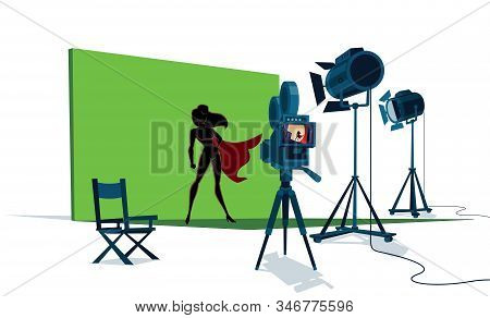 The Set Of A Superhero Movie With The Leading Actress In Front Of The Camera And With Green Screen B