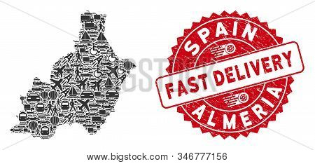 Logistics Collage Almeria Province Map And Rubber Stamp Seal With Fast Delivery Text. Almeria Provin