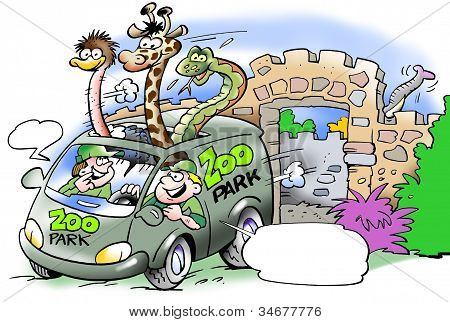 Van With Wild Animals From Africa