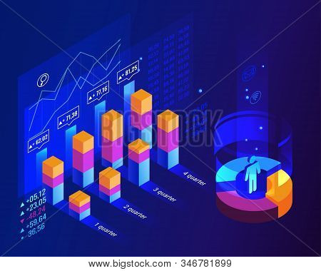 Population Growth By Quarter In Graphic Concept For Unemployment Rate Business Idea. Abstract Blue I