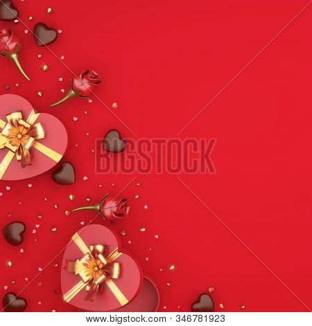 Happy Valentines Day, Valentines Day Background, Red Rose Flower Heart Shape Gift Box, Chocolate Can