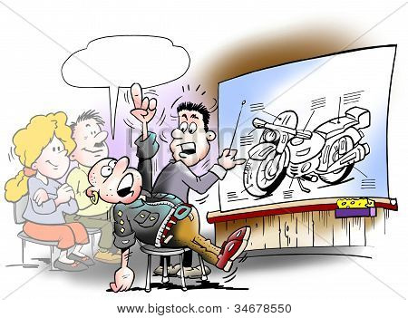 Teaching Students There Take A Motorcycle Driving License
