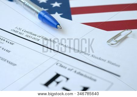 I-20 Certificate Of Eligibility For Nonimmigrant Student Status Blank Form Lies On United States Fla