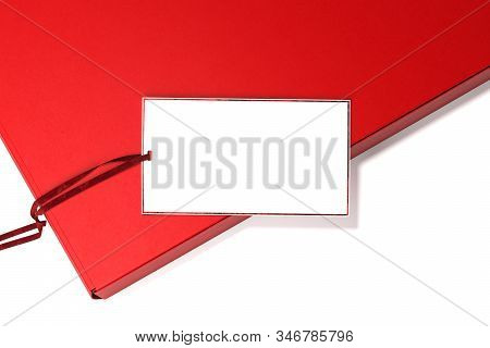 White Blank Tag Price With Empty Space On Red Cardboard Box. 3d Rendering. Concept Of Gift For Saint