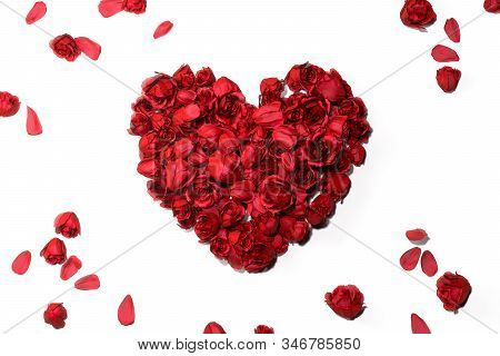 Red Heart Made Of Rosebuds Isolated On White Background. 3d Rendering.