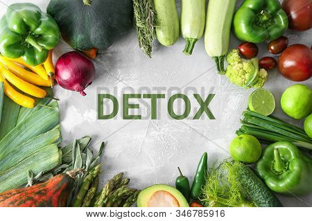 Fresh Vegetables For Detox Detox Diet On Grey Background