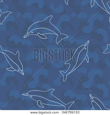 Dolphin Seamless Pattern In Doodle And Line Style On Blue Military Background. Vector Illustration