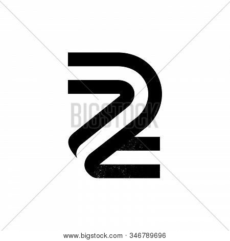 Number Two Logo Formed By Two Parallel Lines With Noise Texture. Vector Black And White Typeface For
