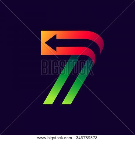 Number Seven Logo With Arrow Inside. Vector Bright Colours Typeface For Delivery Labels, Business He