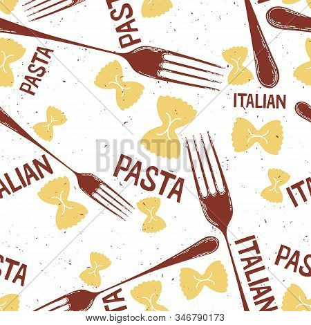 Different Types Of Pasta Seamless Pattern Background. Seamless Pattern Of Traditional Pasta Shapes.