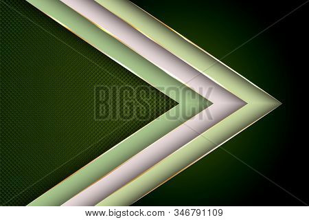Polygonal Arrow With Gold Triangle Edge Lines Banner Vector Design. Vip Poster Background Template.