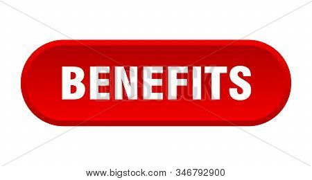 Benefits Button. Benefits Rounded Red Sign. Benefits