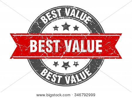Best Value Round Stamp With Red Ribbon. Best Value