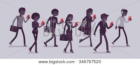Zombie Walking People, Distracted Pedestrians Addicted To Smartphone. Diverse Group Of Peoples Witho