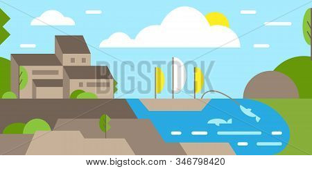 Environment. The Consumption Of Natural Resources. Backgrounds Vector. Fishing. Seaport