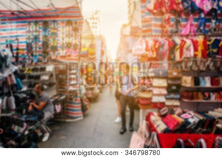 Abstract, Blurred Concept Image Of  Street Market (ladie`s Market) In Hong Kong