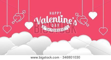 Happy Valentines Day Modern Flat Design Style.