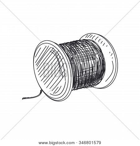 Thread Spool Hand Drawn Vector Monochrome Illustration