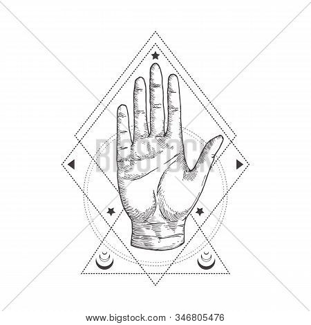 Abstract Occult Symbol, Vintage Style Logo Or Tattoo Template. Hand Drawn Palm Hand Sketch Symbol An
