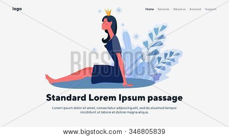 Young Woman In Crown. Princess, Queen, Arrogance Flat Vector Illustration. Ego, Glamour, Luxury Conc