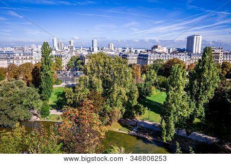 Paris City Aerial View From The Buttes-chaumont, Paris, France