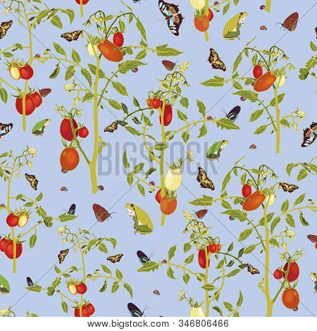 Vector Realistic Flora Butterfly Tomato Garden Repeat Pattern With Tomato Plant And Animals. Beautif
