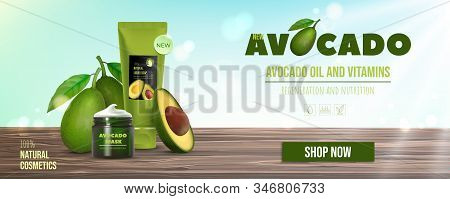 Design Avocado Cosmetics Product Advertising For Catalog, Magazine. Mock Up Of Cosmetic Package. Moi