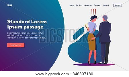 Sexual Harassment At Work. Businessman Touching Female Colleague Buttocks. Flat Vector Illustrations