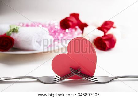 A Romantic Dinner For Two. The Table In The Restaurant Is Beautifully Decorated For The Festive Dinn