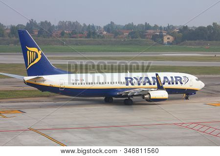 Bologna, Italy - October 16, 2010: Ryanair Aircraft Taxies At Bologna Airport, Italy. Ryanair Carrie