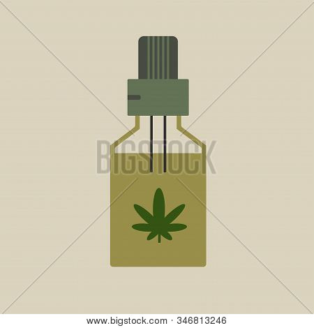 Hemp Oil In A Bottle. Cbd Oil Cannabis Extract. Medical Marijuana. Mock Up Of Cannabis Oil. Icon Pro