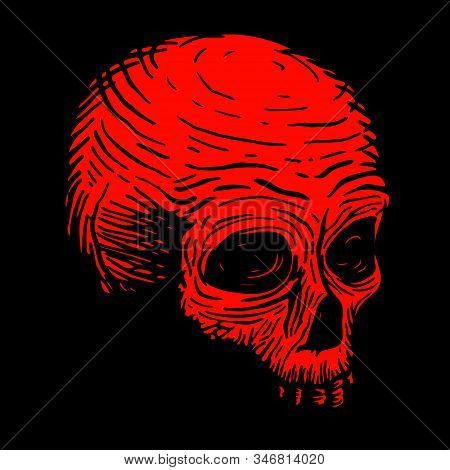 Hand Drawing Of A Skull Of A Dead Man, Red On A Black Background. Vector Illustration