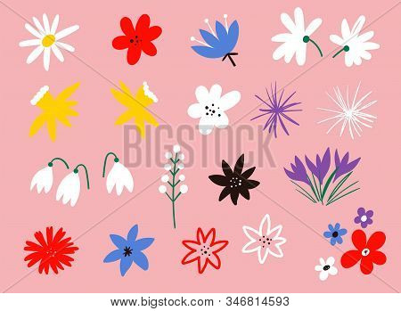 Flower Icon Collection. Flat Cartoon Vector Illustration. Set Of Floral Branch. Collection Of Hand D
