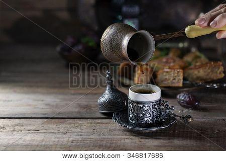 Ramadan Kareem With Arabic Coffee. Arabian Style. Ramadan Breakfast Concept. Cy