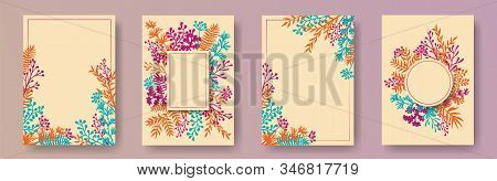 Botanical Herb Twigs, Tree Branches, Flowers Floral Invitation Cards Collection. Herbal Corners Mode