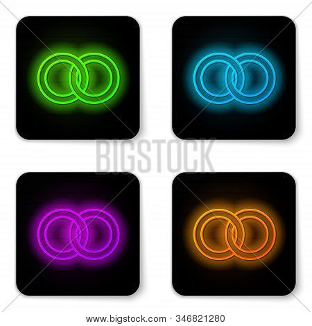 Glowing Neon Line Wedding Rings Icon Isolated On White Background. Bride And Groom Jewelery Sign. Ma