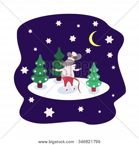 Cartoon Character Rat In Winter Clothes Stands On The Snow Among The Christmas Trees. Card With A St