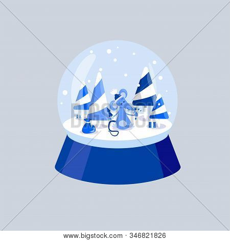 Blue Rat With A Christmas Tree And Candy In Its Paws. Mouse, Caramel Trees And Gifts. White And Blue